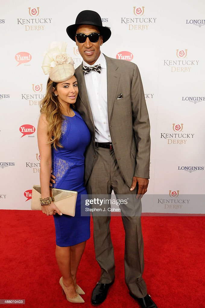 Basketball player <a gi-track='captionPersonalityLinkClicked' href=/galleries/search?phrase=Scottie+Pippen&family=editorial&specificpeople=202466 ng-click='$event.stopPropagation()'>Scottie Pippen</a> (right) and wife <a gi-track='captionPersonalityLinkClicked' href=/galleries/search?phrase=Larsa+Pippen&family=editorial&specificpeople=2125688 ng-click='$event.stopPropagation()'>Larsa Pippen</a> (left) attend 140th Kentucky Derby at Churchill Downs on May 3, 2014 in Louisville, Kentucky.