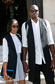 Basketball Player Serge Ibaka and his wife attend the Balmain Menswear Spring/Summer 2016 show as part of Paris Fashion Week on June 27 2015 in Paris...