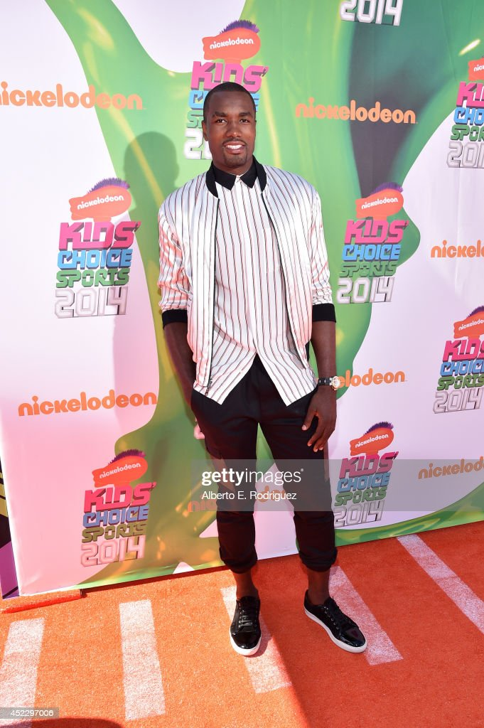NBA basketball player <a gi-track='captionPersonalityLinkClicked' href=/galleries/search?phrase=Serge+Ibaka&family=editorial&specificpeople=5133378 ng-click='$event.stopPropagation()'>Serge Ibaka</a> attends Nickelodeon Kids' Choice Sports Awards 2014 at UCLA's Pauley Pavilion on July 17, 2014 in Los Angeles, California.