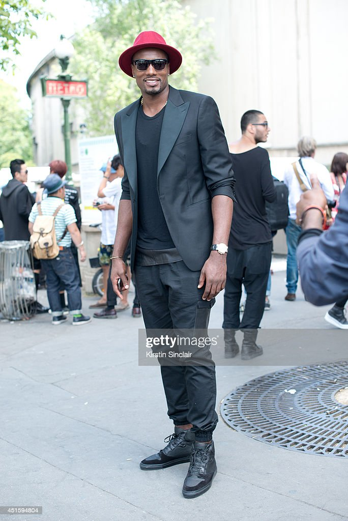 Basketball player <a gi-track='captionPersonalityLinkClicked' href=/galleries/search?phrase=Serge+Ibaka&family=editorial&specificpeople=5133378 ng-click='$event.stopPropagation()'>Serge Ibaka</a> on day 2 of Paris Collections: Men on June 26, 2014 in Paris, France.