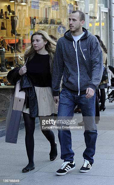 Basketball player Sergio Rodriguez and his girlfriend are seen going for shopping at Golden Mile on February 20 2012 in Madrid Spain