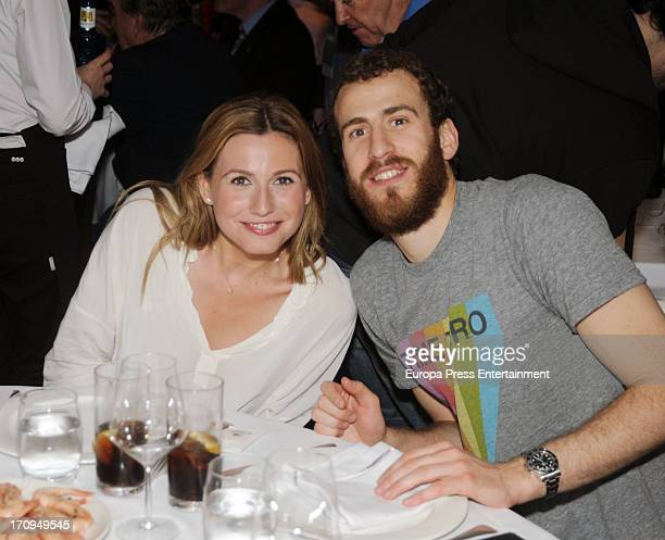 Basketball player Sergio Rodriguez attends a dinner to celebrate Real Madrid winning the Endesa Spanish League at Puerta 57 Restaurant on June 19...