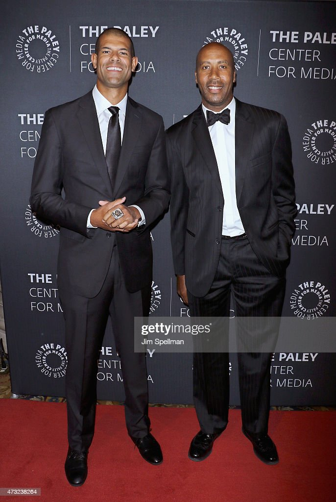 Basketball player Shane Battier and former basketball player Bruce Bowen attend the The Paley Center For Media hosts a tribute to African-American achievements in television at Cipriani Wall Street on May 13, 2015 in New York City.