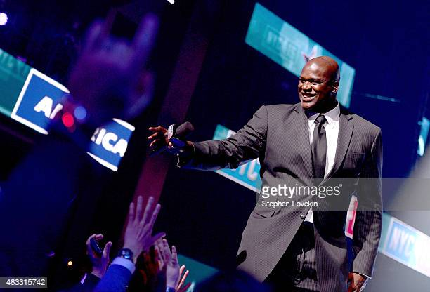 Basketball player Shaquille O'Neal speaks onstage at Fall Out Boy takes the stage at American Express AllStar Live at Hammerstein Ballroom broadcast...