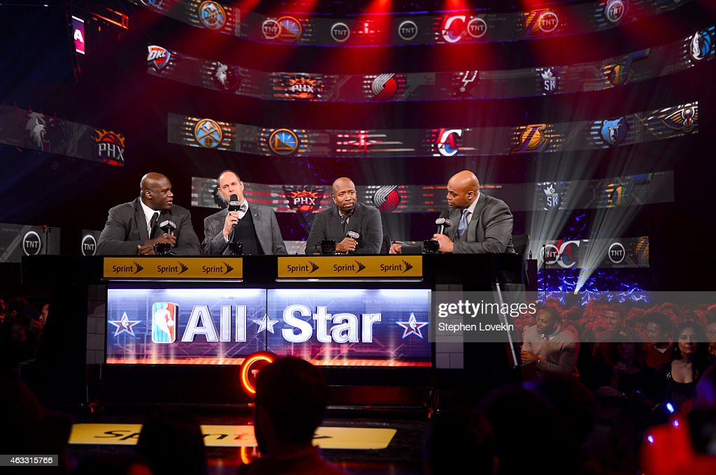 Basketball player <a gi-track='captionPersonalityLinkClicked' href=/galleries/search?phrase=Shaquille+O%27Neal&family=editorial&specificpeople=201463 ng-click='$event.stopPropagation()'>Shaquille O'Neal</a>, sportscaster Ernest Johnson Jr., basketball player <a gi-track='captionPersonalityLinkClicked' href=/galleries/search?phrase=Kenny+Smith&family=editorial&specificpeople=221585 ng-click='$event.stopPropagation()'>Kenny Smith</a> and basketball player <a gi-track='captionPersonalityLinkClicked' href=/galleries/search?phrase=Charles+Barkley&family=editorial&specificpeople=202484 ng-click='$event.stopPropagation()'>Charles Barkley</a> speak onstage as Fall Out Boy takes the stage at American Express All-Star Live at Hammerstein Ballroom broadcast live on TNT to tip-off NBA All-Star 2015 on February 12, 2015 in New York City.