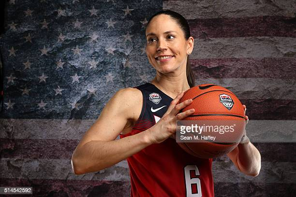 Basketball player Sue Bird poses for a portrait at the 2016 Team USA Media Summit at The Beverly Hilton Hotel on March 9 2016 in Beverly Hills...