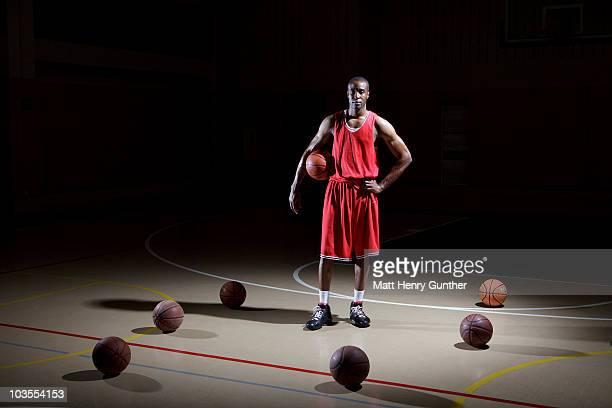 Basketball Player surrounded by basketballs