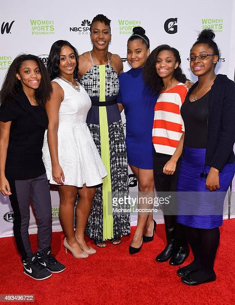 Basketball Player Tamyka Catchings poses with Sports For Life Grant recipients the 36th Annual Salute to Women In Sports at Cipriani Wall Street on...