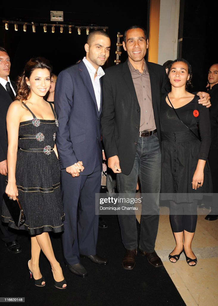 Basketball player Tony Parker, actress Eva Longoria, Richard Dacoury and guest attends the Launch Party for the Ingenieur Automatic Edition Zinedine Zidane watch, held at Palais de Chaillot, on June 16, 2008 in Paris, France.