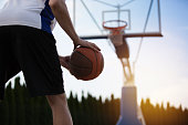 Basketball player training on the court. concept about basketball and sport