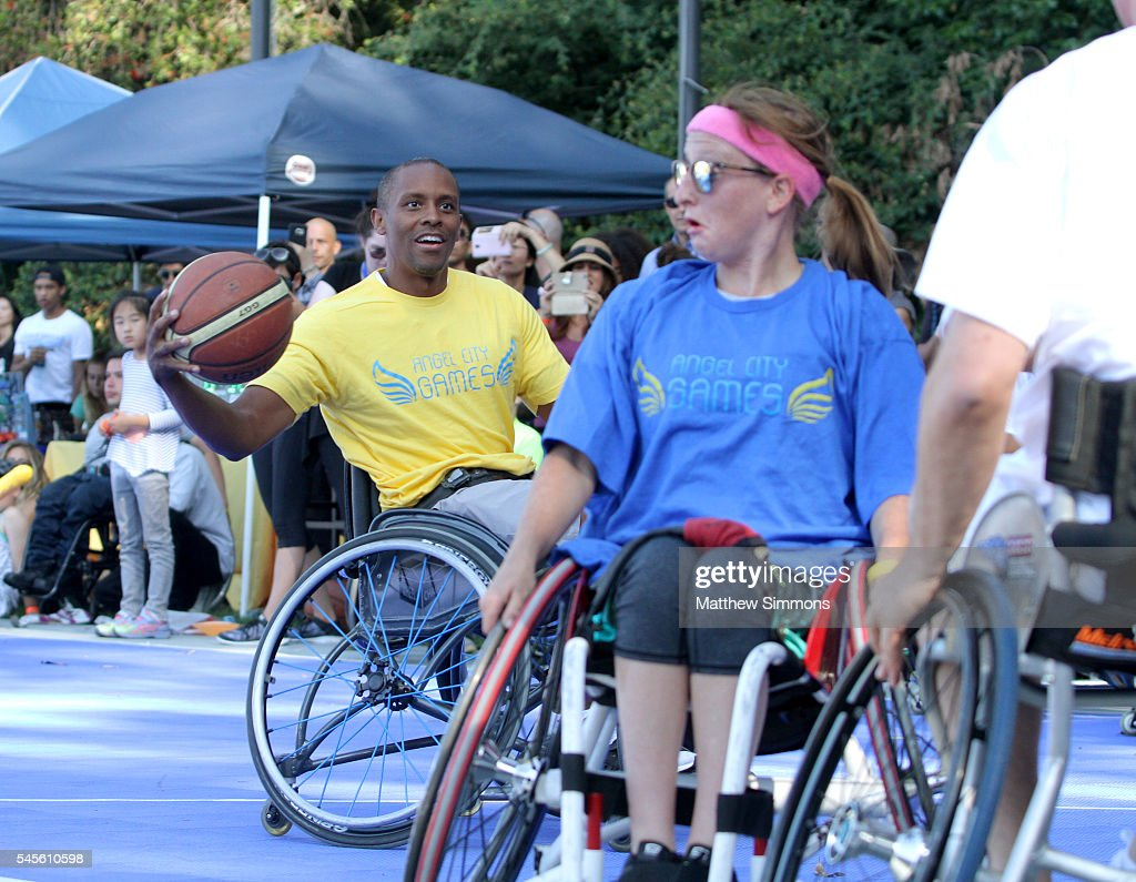 Basketball player Tyus Edney plays in a celebrity wheelchair basketball game during the 2nd Annual Angel City Games at UCLA's Drake Stadium on July 8...