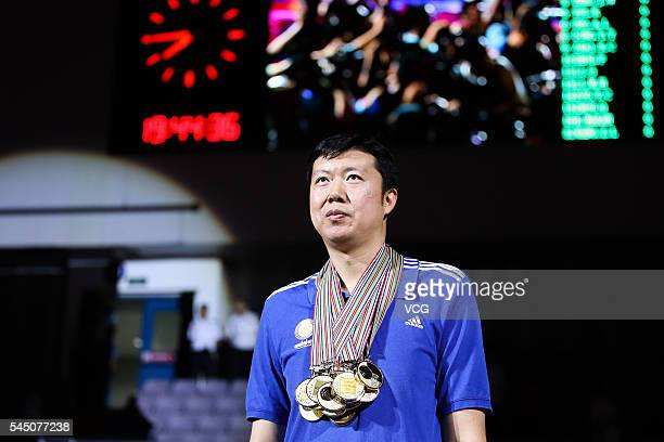 Basketball player Wang Zhizhi attends his retirement ceremony during a match of the Stankovic Continental Cup 2016 on July 5 2016 in Beijing China A...