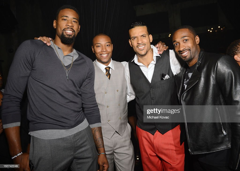 Basketball players DeAndre Jordan Caron Butler Matt Barnes and Gilbert Arenas attend the GQ October Cover Party With Chris Paul with Hennessy at...