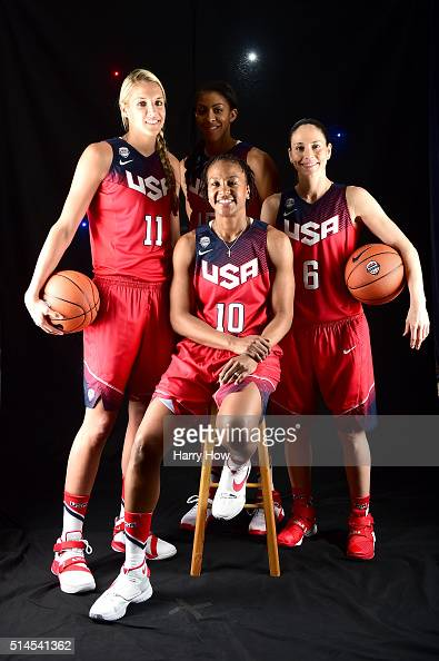 Basketball players Elena Delle Donne Candace Parker Tamika Catchings and Sue Bird pose for a portrait at the 2016 Team USA Media Summit at The...