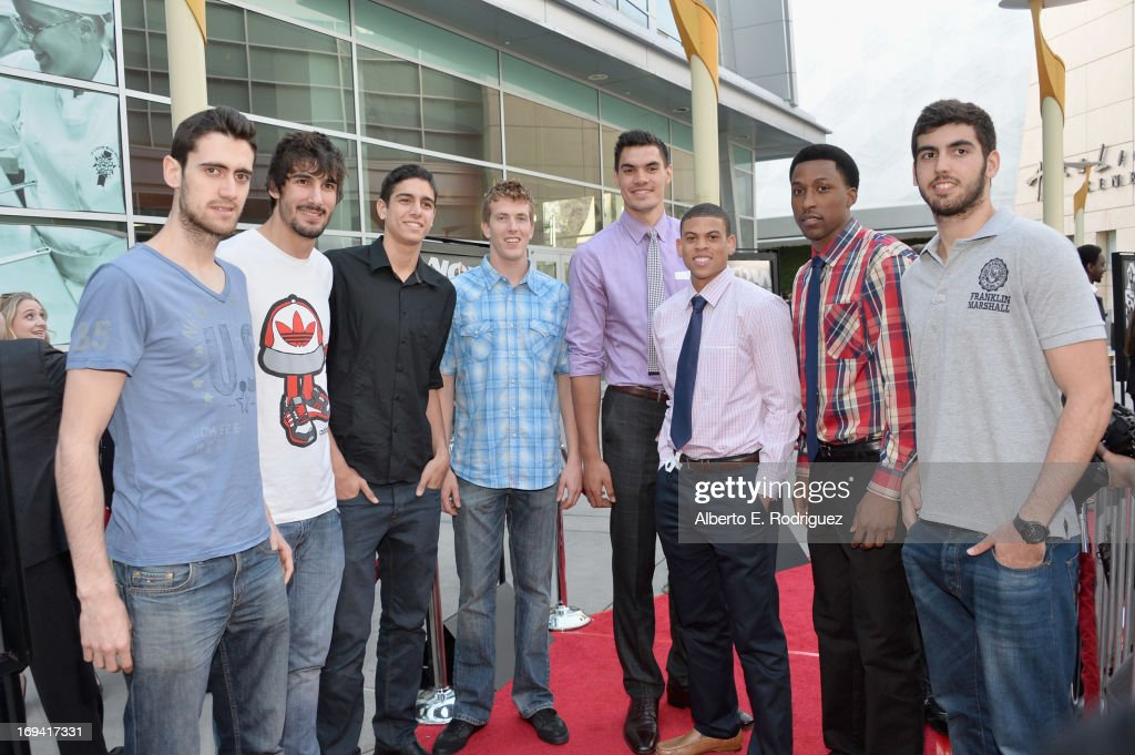 Basketball players Joan Sastre, Daniel Diez, Itay Segev, EJ Singeler, Steven Adams, Ray McCollum, Kentavious Caldwell-Pope and Miguel Servera attend a special screening of Summit Entertainment's 'Now You See Me' at the ArcLight Theaters Hollywood on May 23, 2013 in Hollywood, California.