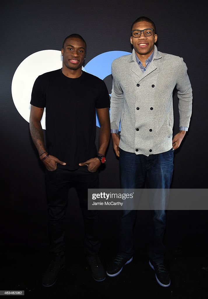 Basketball players Thanasis and Giannis Antetokounmpo attend GQ and LeBron James Celebrate AllStar Style on February 14 2015 in New York City