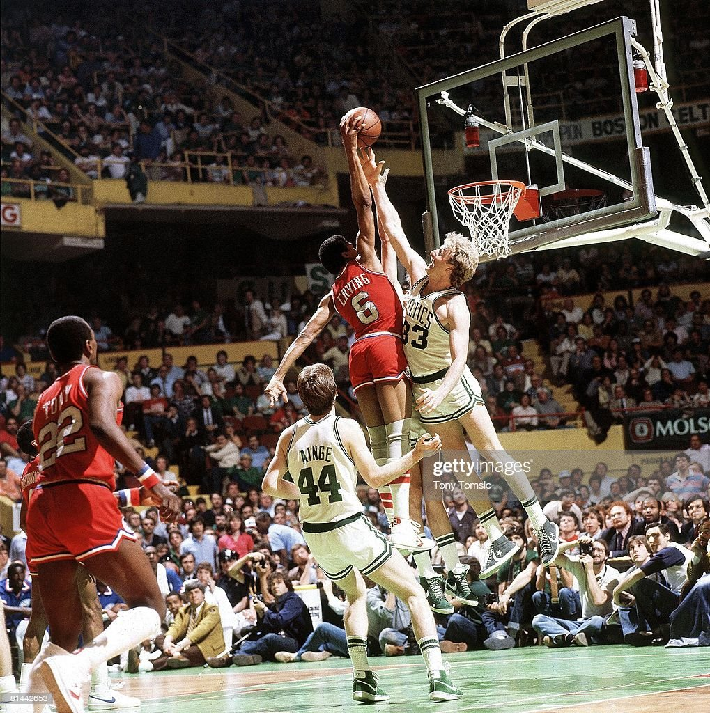 playoffs, Boston Celtics Larry Bird (33) in action vs Philadelphia 76ers Julius Erving (6), Boston, MA 5/23/1982