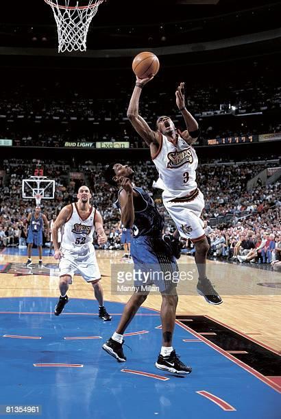 Basketball playoffs Philadelphia 76ers Allen Iverson in action vs Orlando Magic Nick Anderson Philadelphia PA 5/13/1999