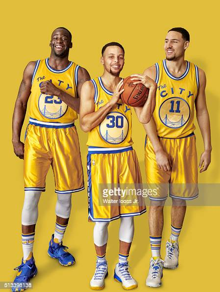Portrait of Golden State Warriors forward Draymond Green point guard Stephen Curry and shooting guard Klay Thompson during photo shoot at Sheraton...