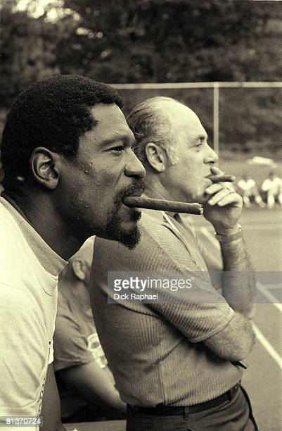 Basketball Red Auerbach's Camp Closeup of Boston Celtics president Red Auerbach with coach Bill Russell Mansfield MA 9/1/1969