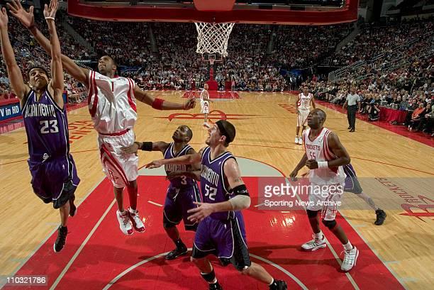 NBA Basketball Sacramento Kings Brad Miller Kevin Martin Cuttino Mobley against Houston Rockets Tracy McGrady on Jan 28 2005 at Toyota Center in...