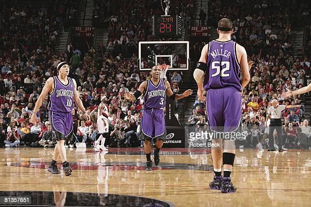 Basketball Sacramento Kings Mike Bibby Cuttino Mobley and Brad Miller on court during game vs Portland Trail Blazers Portland OR 2/5/2005