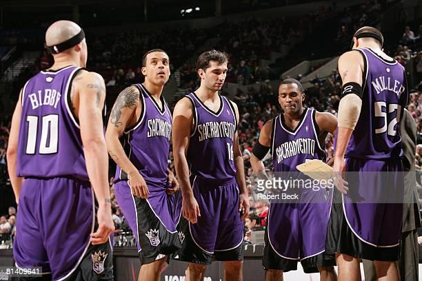 Basketball Sacramento Kings Mike Bibby Matt Barnes Peja Stojakovic Cuttino Mobley and Brad Miller during game vs Portland Trail Blazers Portland OR...