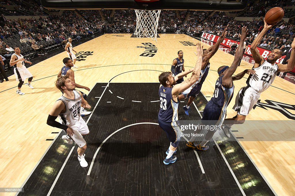 San Antonio Spurs Tim Duncan (21) in action vs Memphis Grizzlies at AT&T Center. Greg Nelson F36 )