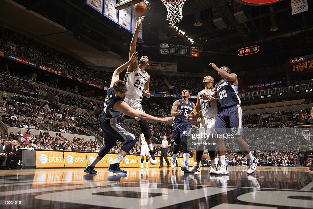 San Antonio Spurs Tim Duncan (21) in action vs Memphis Grizzlies at AT&T Center. Greg Nelson F71 )