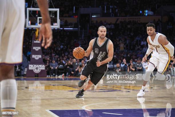 San Antonio Spurs Tony Parker in action vs Los Angeles Lakers D'Angelo Russell at Staples Center Los Angeles CA CREDIT John W McDonough