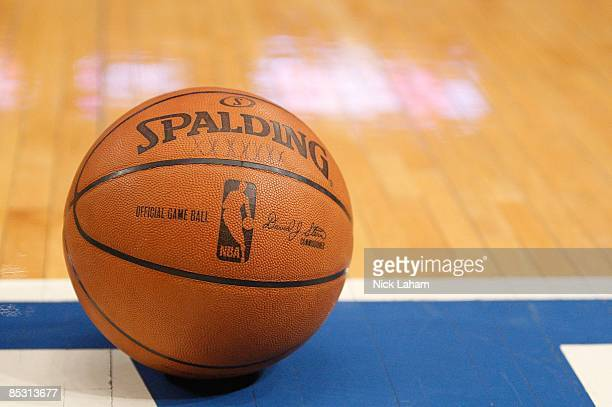 A basketball sits on the baseline during the game between the Charlotte Bobcats and the New York Knicks on March 7 2009 at Madison Square Garden in...