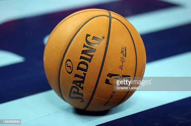 A basketball sits on the court during their game at Time Warner Cable Arena on November 7 2012 in Charlotte North Carolina NOTE TO USER User...