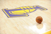 A basketball sits on the floor of Staples Center on April 2 2013 in Los Angeles California NOTE TO USER User expressly acknowledges and agrees that...
