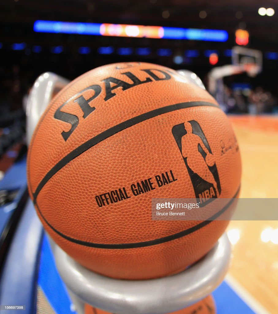 A basketball sits on the rack prior to the game between the New York Knicks and the Indiana Pacers at Madison Square Garden on November 18, 2012 in New York City.
