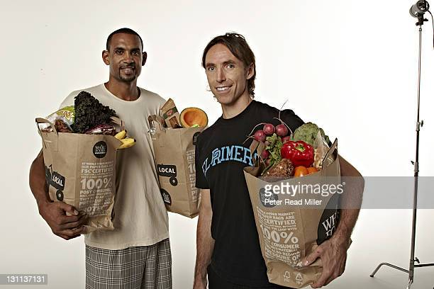 Sports Nutrition Casual portrait of Phoenix Suns Steve Nash and Grant Hill holding Whole Food grocery bags during photo shoot at Studio 3D Phoenix AZ...