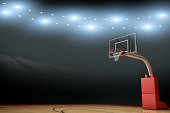 A empty basketball stadium / arena with stadium lights, goal, hardwood floor, and flares.