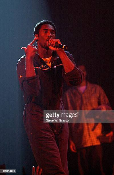 Basketball star Kobe Bryant of the Los Angeles Lakers makes his debut as a rapper July 23 2000 at the House of Blues in West Hollywood CA