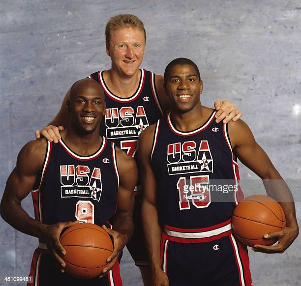 Summer Games Preview Closeup portrait of USA Larry Bird Michael Jordan and Magic Johnson during photo shoot Dream Team San Diego CA CREDIT Neil Leifer