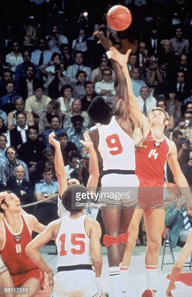 Basketball team battles for the tip off against the Russia basketball team on September 10 1972 in Munich Germany The Russia won this controversial...