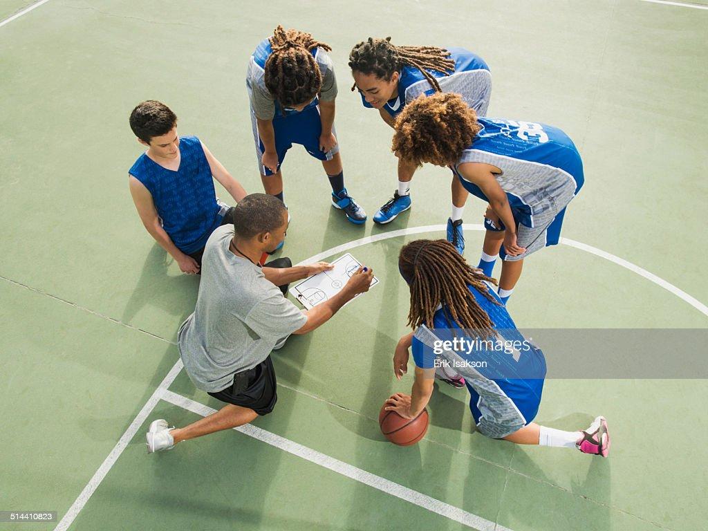 Basketball team talking on court