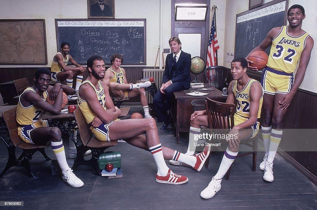 The NBA Goes Back To School Team portrait of Los Angeles Lakers Norm Nixon Mitch Kupchak coach Paul Westhead Jamaal Wilkes Magic Johnson Kareem...