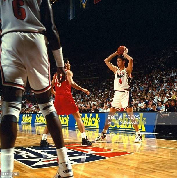 Tournament of the Americas USA Christian Laettner in action vs Venezuela at Memorial Coliseum Dream Team Portland OR CREDIT John W McDonough