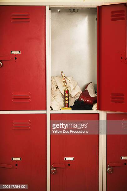 Basketball trophy in locker