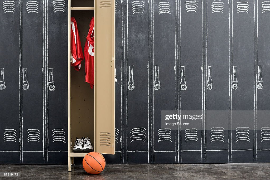 Basketball uniform hanging in a locker