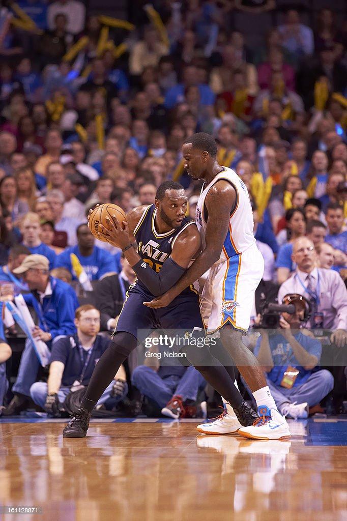 Utah Jazz Al Jefferson (25) in action vs Oklahoma City Thunder Kendrick Perkins (5) at Chesapeake Energy Arena. Greg Nelson F7 )