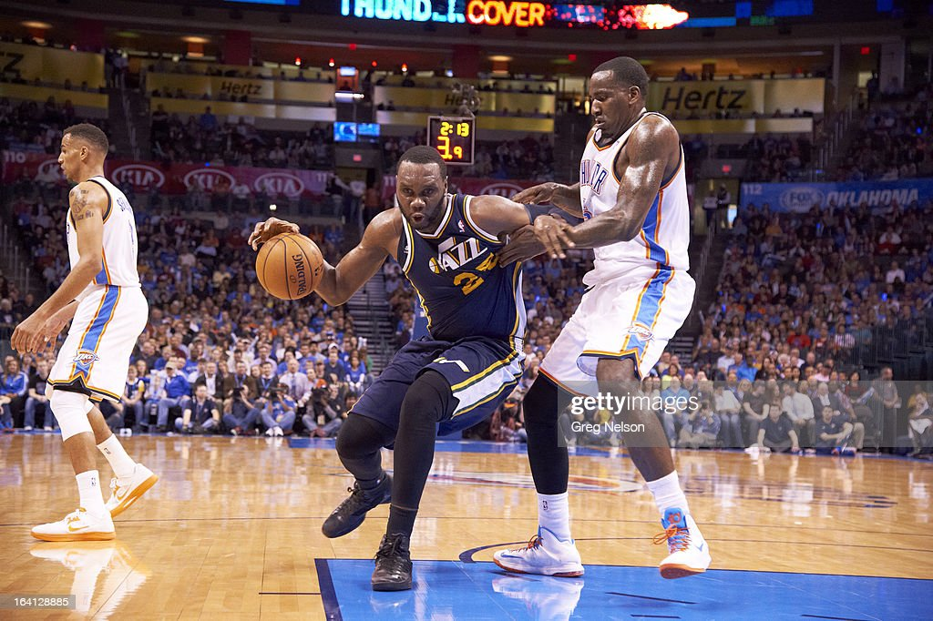 Utah Jazz Al Jefferson (25) in action vs Oklahoma City Thunder Kendrick Perkins (5) at Chesapeake Energy Arena. Greg Nelson F56 )