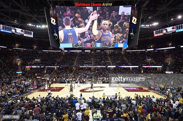 View of Cleveland Cavaliers LeBron James on scoreboard victorious during game vs New York Knicks at Quicken Loans Arena Cleveland OH CREDIT Greg...