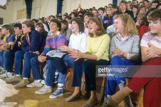 View of fans in gym stands watching Harlem Magicians play at Chamblee High School Chamblee GA CREDIT Manny Millan