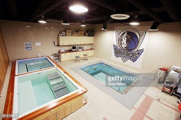 Basketball View of trainers room with in ground pool at Dallas Mavericks locker room Dallas TX 2/4/2005
