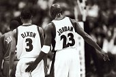 Basketball Washington Wizards Michael Jordan and Juan Dixon during game Washington DC 2003